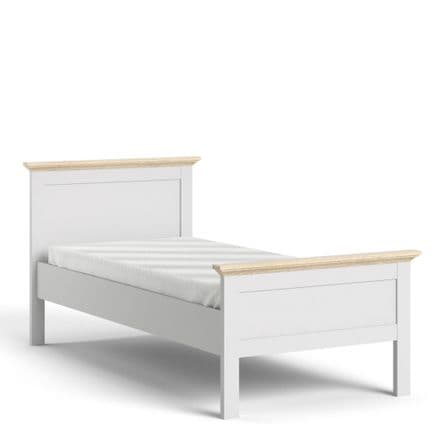 Paris Single Bed (90 x 200) in White and Oak